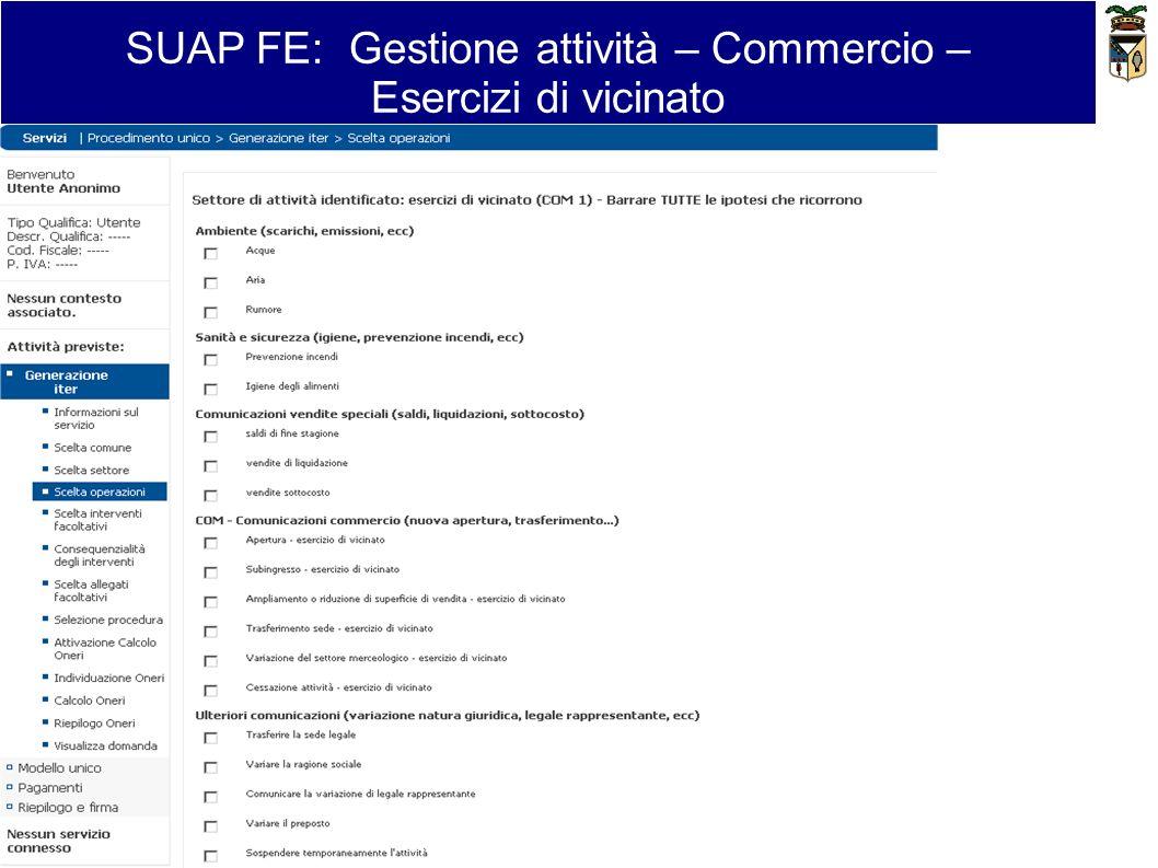 SUAP FE: Gestione attività – Commercio – Esercizi di vicinato