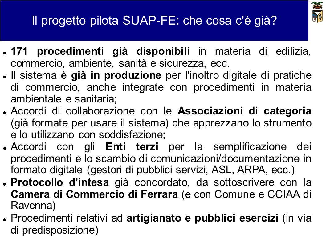 Il progetto pilota SUAP-FE: che cosa c'è già? 171 procedimenti già disponibili in materia di edilizia, commercio, ambiente, sanità e sicurezza, ecc. I