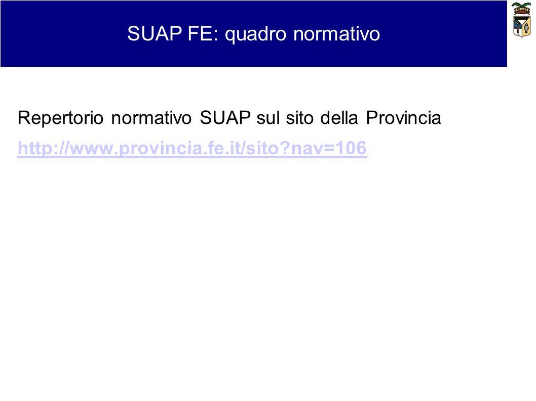 Repertorio normativo SUAP sul sito della Provincia http://www.provincia.fe.it/sito?nav=106 SUAP FE: quadro normativo