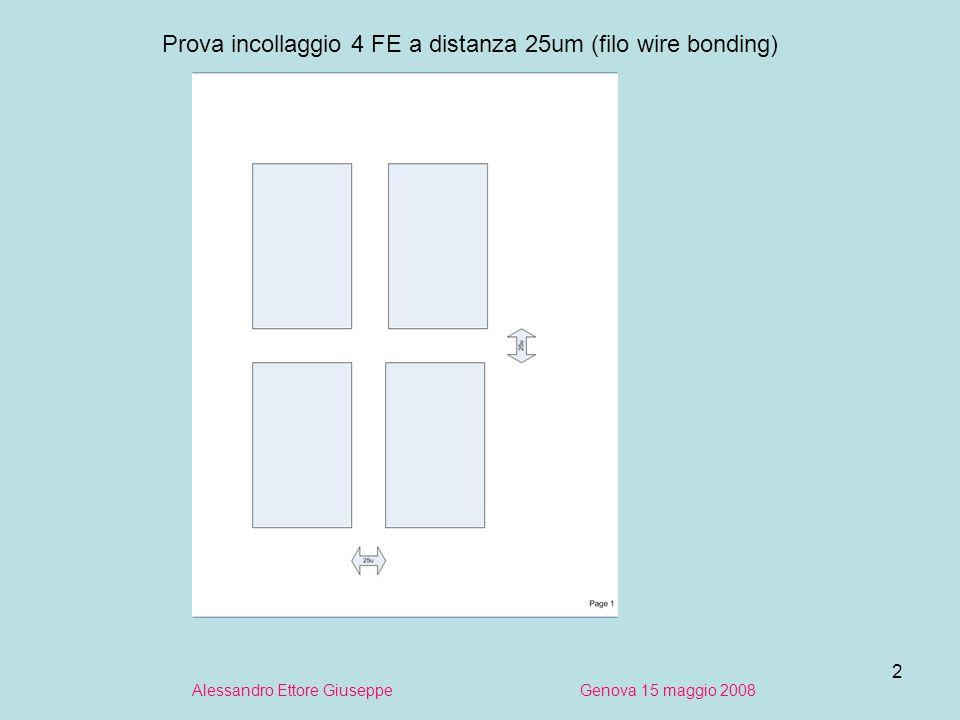 2 Alessandro Ettore Giuseppe Genova 15 maggio 2008 Prova incollaggio 4 FE a distanza 25um (filo wire bonding)