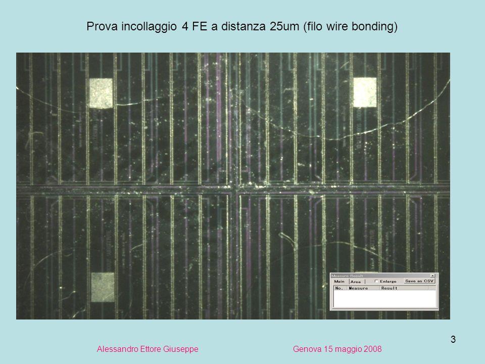 3 Alessandro Ettore Giuseppe Genova 15 maggio 2008 Prova incollaggio 4 FE a distanza 25um (filo wire bonding)