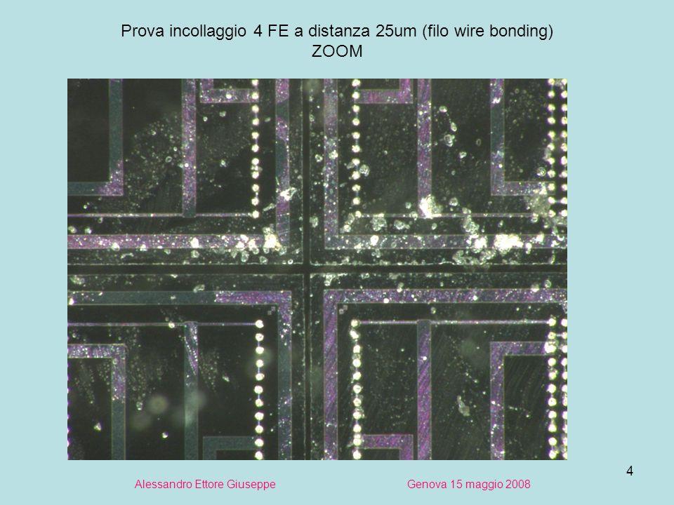 4 Alessandro Ettore Giuseppe Genova 15 maggio 2008 Prova incollaggio 4 FE a distanza 25um (filo wire bonding) ZOOM