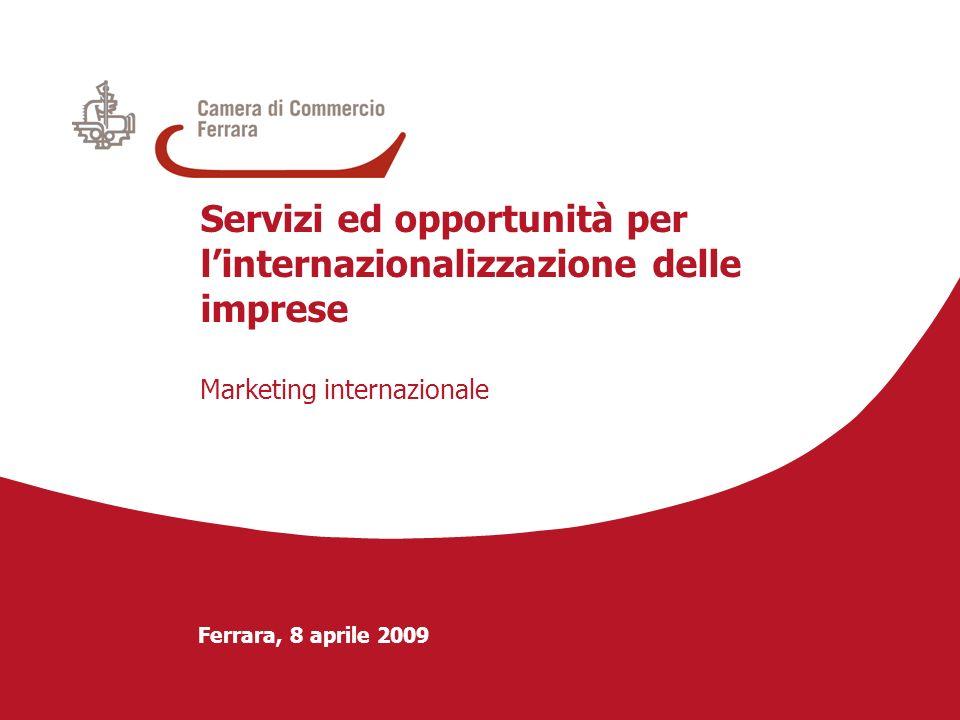 Ferrara, 8 aprile 2009 Servizi ed opportunità per linternazionalizzazione delle imprese Marketing internazionale