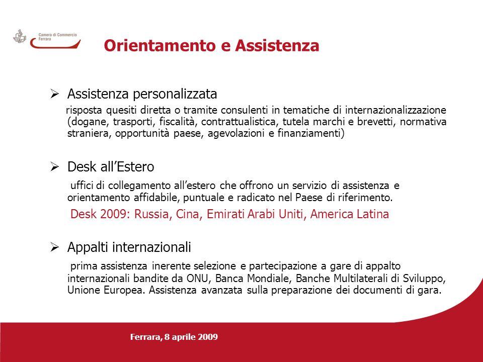 Ferrara, 8 aprile 2009 Orientamento e Assistenza Assistenza personalizzata risposta quesiti diretta o tramite consulenti in tematiche di internazional