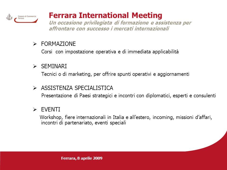 Ferrara, 8 aprile 2009 Ferrara International Meeting Un occasione privilegiata di formazione e assistenza per affrontare con successo i mercati intern