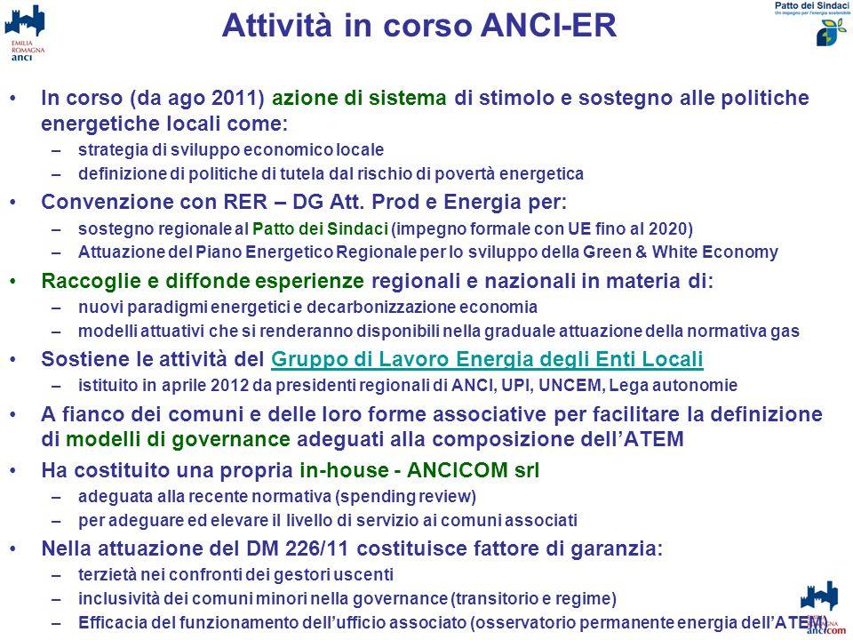 In corso (da ago 2011) azione di sistema di stimolo e sostegno alle politiche energetiche locali come: –strategia di sviluppo economico locale –defini