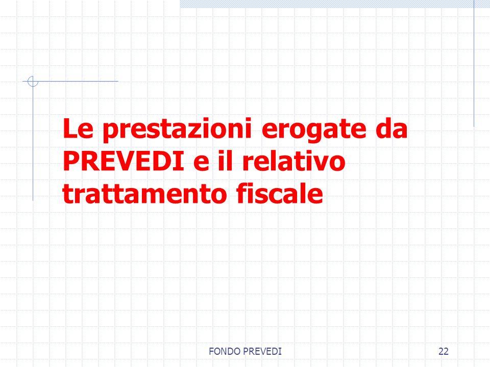 FONDO PREVEDI22 Le prestazioni erogate da PREVEDI e il relativo trattamento fiscale