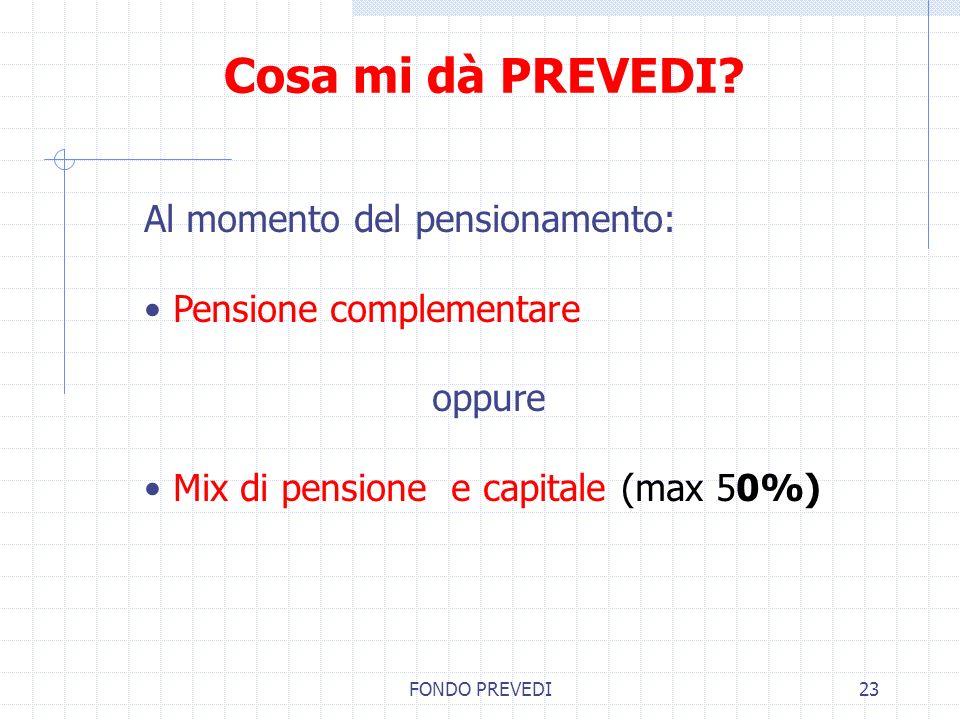 FONDO PREVEDI23 Cosa mi dà PREVEDI? Al momento del pensionamento: Pensione complementare oppure Mix di pensione e capitale (max 50%)