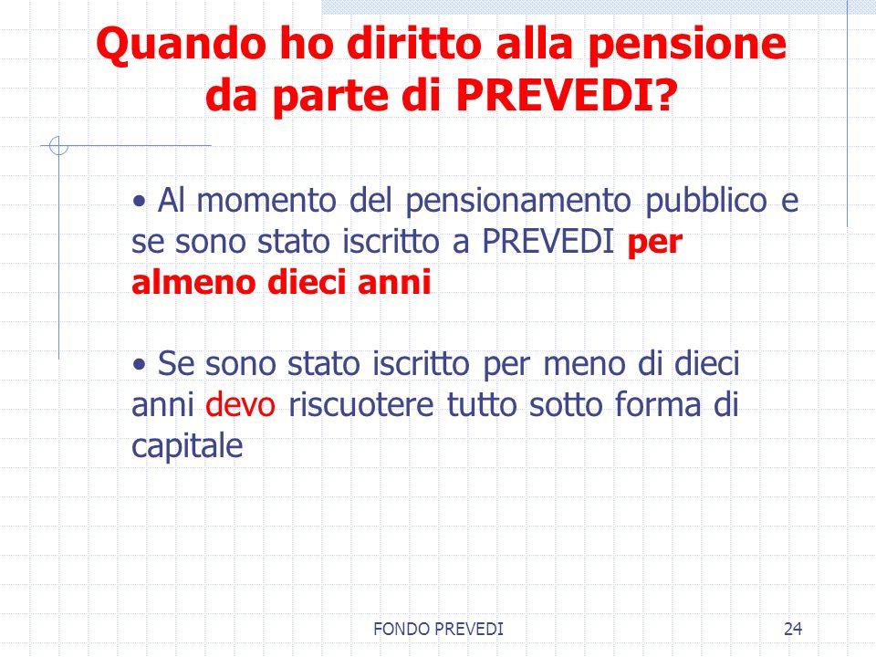 FONDO PREVEDI24 Quando ho diritto alla pensione da parte di PREVEDI? Al momento del pensionamento pubblico e se sono stato iscritto a PREVEDI per alme