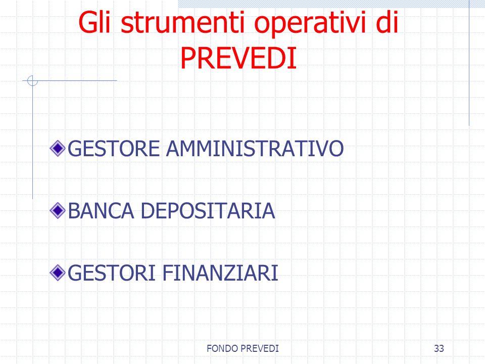 FONDO PREVEDI33 Gli strumenti operativi di PREVEDI GESTORE AMMINISTRATIVO BANCA DEPOSITARIA GESTORI FINANZIARI