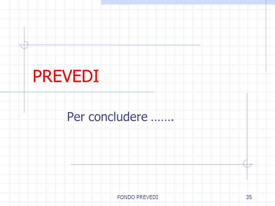 FONDO PREVEDI35 PREVEDI Per concludere …….