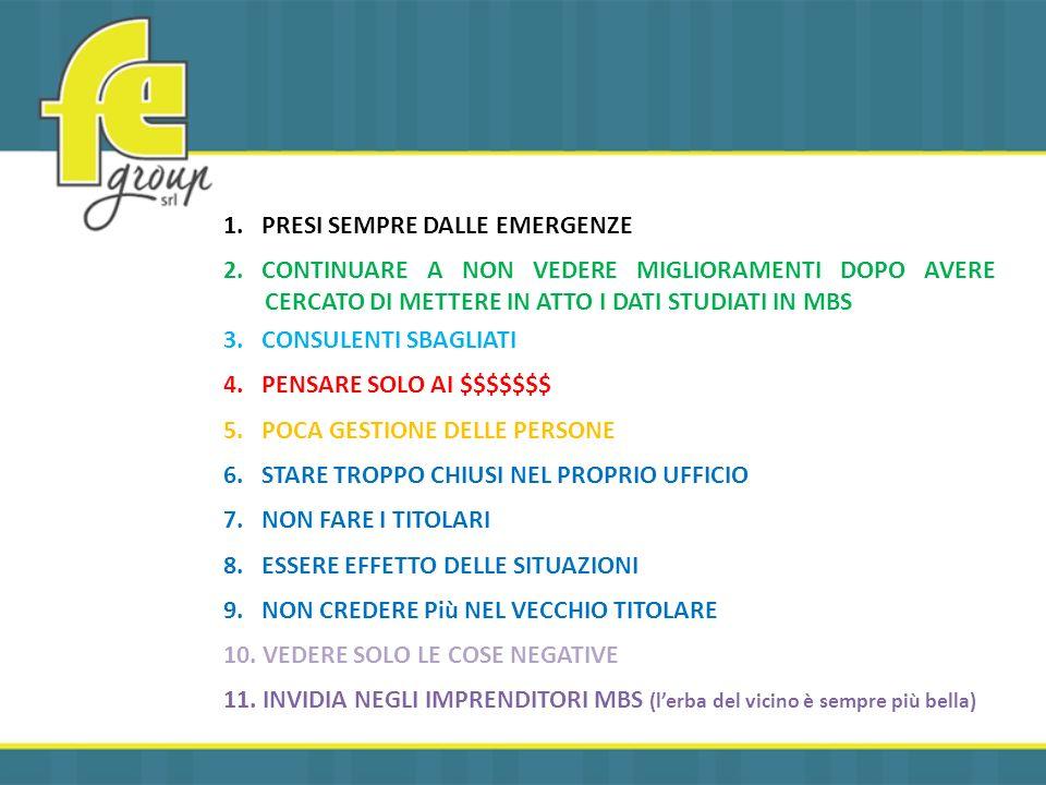 1.PRESI SEMPRE DALLE EMERGENZE 2.