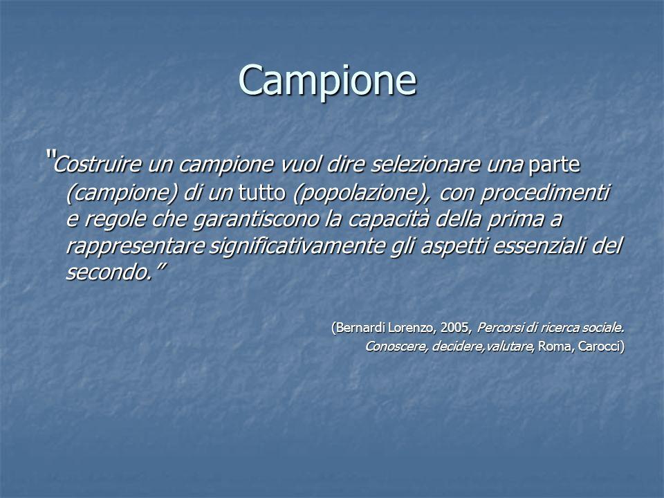Campione Costruire un campione vuol dire selezionare una parte (campione) di un tutto (popolazione), con procedimenti e regole che garantiscono la cap