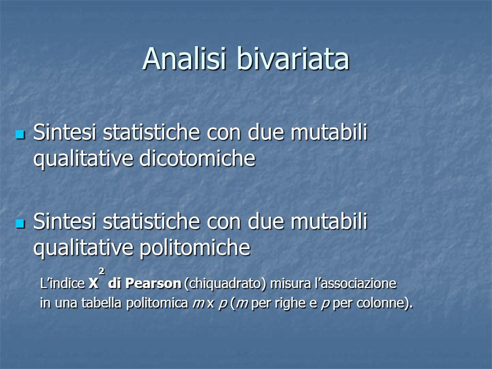 Analisi bivariata Sintesi statistiche con due mutabili qualitative dicotomiche Sintesi statistiche con due mutabili qualitative dicotomiche Sintesi st