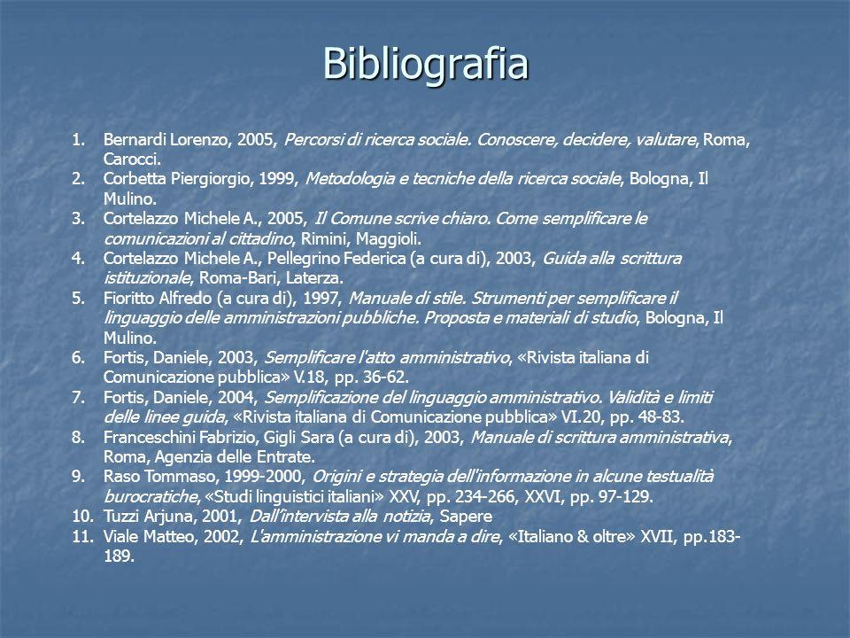 Bibliografia 1.Bernardi Lorenzo, 2005, Percorsi di ricerca sociale. Conoscere, decidere, valutare, Roma, Carocci. 2.Corbetta Piergiorgio, 1999, Metodo