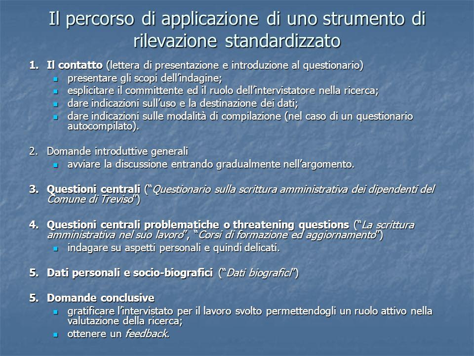 Il percorso di applicazione di uno strumento di rilevazione standardizzato 1.Il contatto (lettera di presentazione e introduzione al questionario) pre