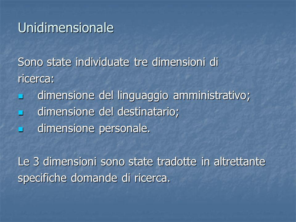 Unidimensionale Sono state individuate tre dimensioni di ricerca: dimensione del linguaggio amministrativo; dimensione del linguaggio amministrativo;