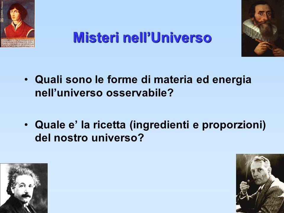 1 Misteri nellUniverso Quali sono le forme di materia ed energia nelluniverso osservabile? Quale e la ricetta (ingredienti e proporzioni) del nostro u