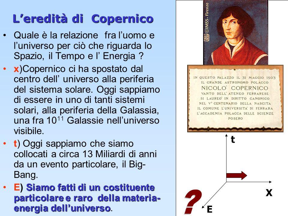 2 Leredità di Copernico Quale è la relazione fra luomo e luniverso per ciò che riguarda lo Spazio, il Tempo e l Energia ? x)Copernico ci ha spostato d