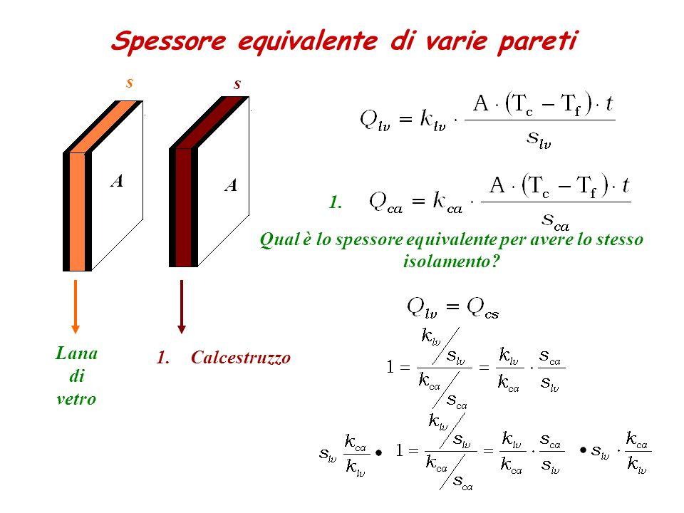 Spessore equivalente di varie pareti Lana di vetro 1.Calcestruzzo A s s A Qual è lo spessore equivalente per avere lo stesso isolamento? 1.