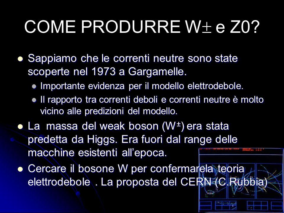 COME PRODURRE W e Z0. Sappiamo che le correnti neutre sono state scoperte nel 1973 a Gargamelle.