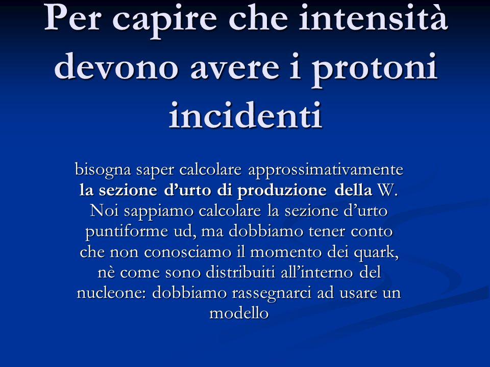 Per capire che intensità devono avere i protoni incidenti bisogna saper calcolare approssimativamente la sezione durto di produzione della W. Noi sapp