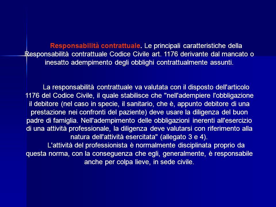 Responsabilità contrattuale. Le principali caratteristiche della Responsabilità contrattuale Codice Civile art. 1176 derivante dal mancato o inesatto