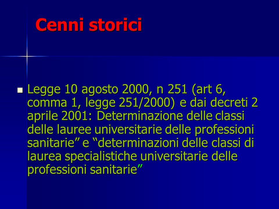 Cenni storici Legge 10 agosto 2000, n 251 (art 6, comma 1, legge 251/2000) e dai decreti 2 aprile 2001: Determinazione delle classi delle lauree unive