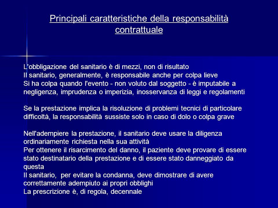 Principali caratteristiche della responsabilità contrattuale L'obbligazione del sanitario è di mezzi, non di risultato Il sanitario, generalmente, è r