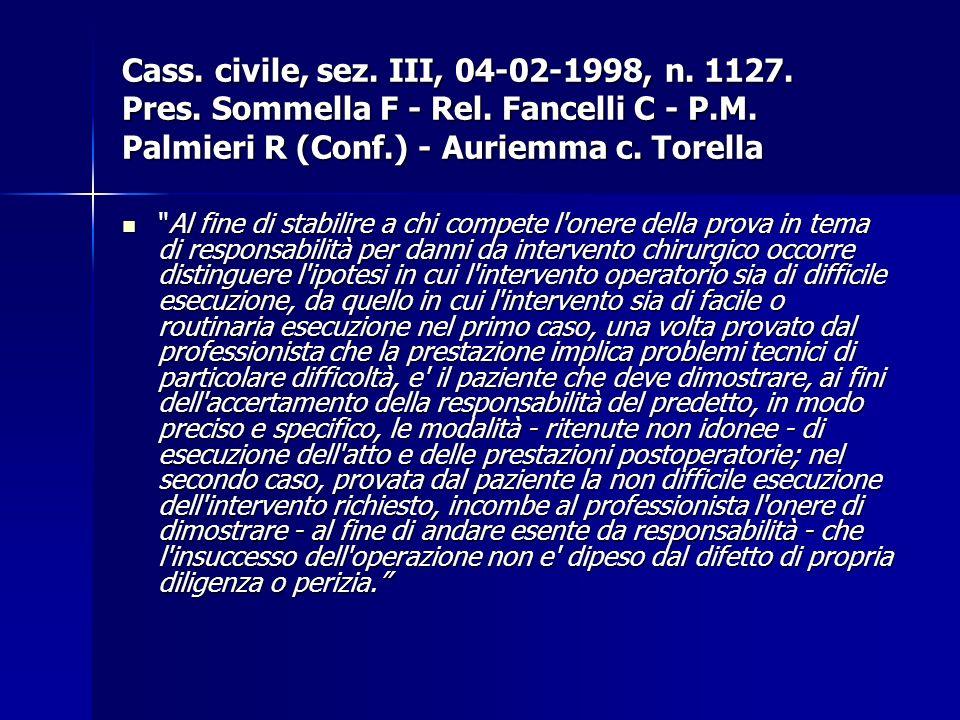 Cass. civile, sez. III, 04-02-1998, n. 1127. Pres. Sommella F - Rel. Fancelli C - P.M. Palmieri R (Conf.) - Auriemma c. Torella