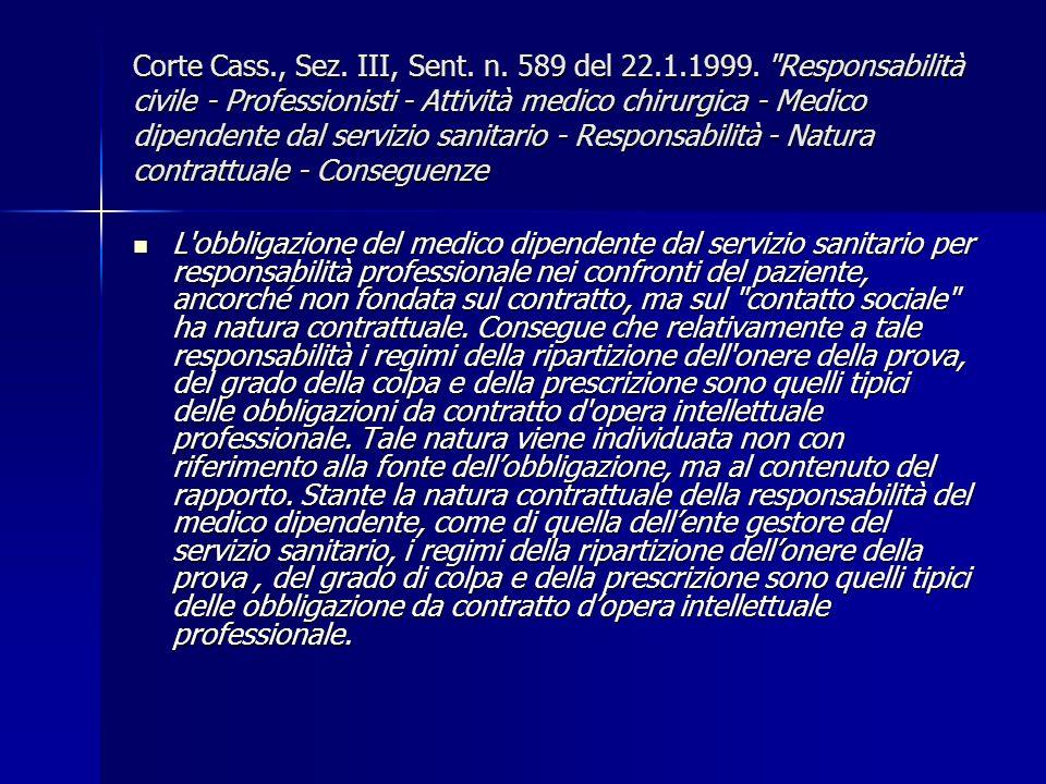 Corte Cass., Sez. III, Sent. n. 589 del 22.1.1999.
