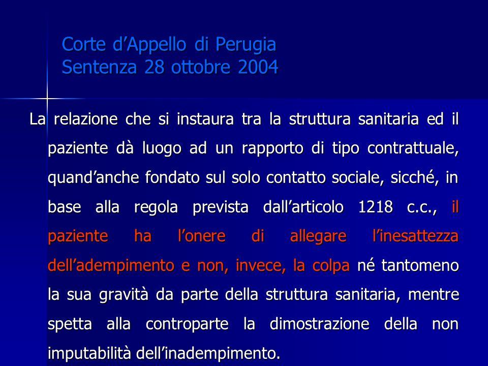 Corte dAppello di Perugia Sentenza 28 ottobre 2004 La relazione che si instaura tra la struttura sanitaria ed il paziente dà luogo ad un rapporto di t