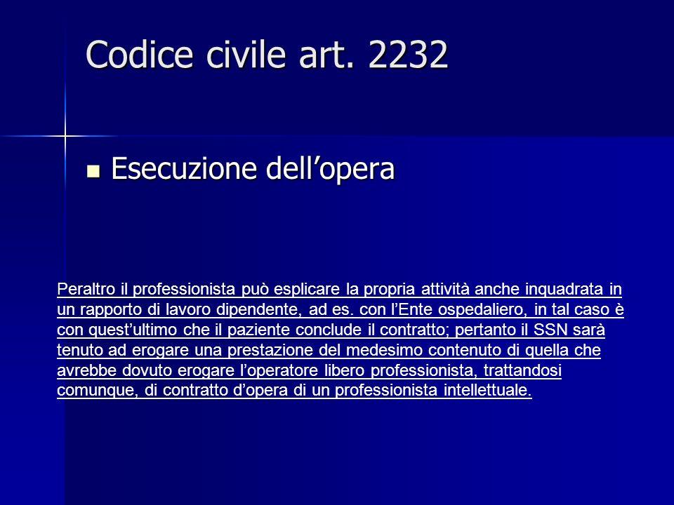 Codice civile art. 2232 Esecuzione dellopera Esecuzione dellopera Peraltro il professionista può esplicare la propria attività anche inquadrata in un