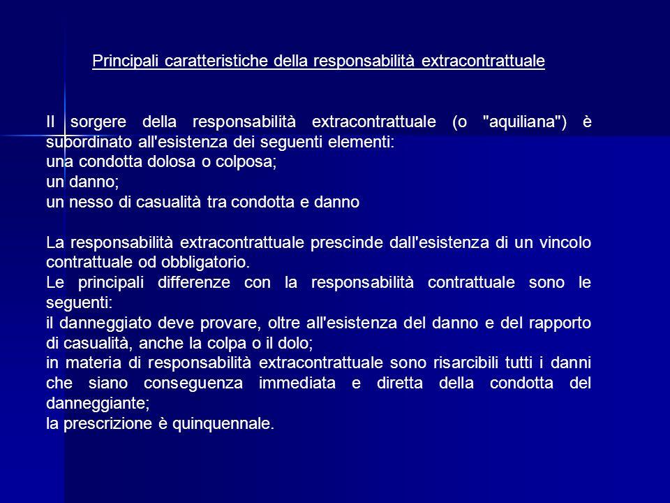 Principali caratteristiche della responsabilità extracontrattuale Il sorgere della responsabilità extracontrattuale (o