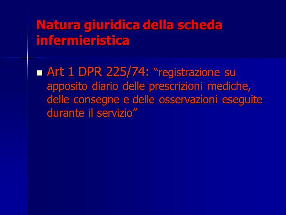 Natura giuridica della scheda infermieristica Art 1 DPR 225/74: registrazione su apposito diario delle prescrizioni mediche, delle consegne e delle os