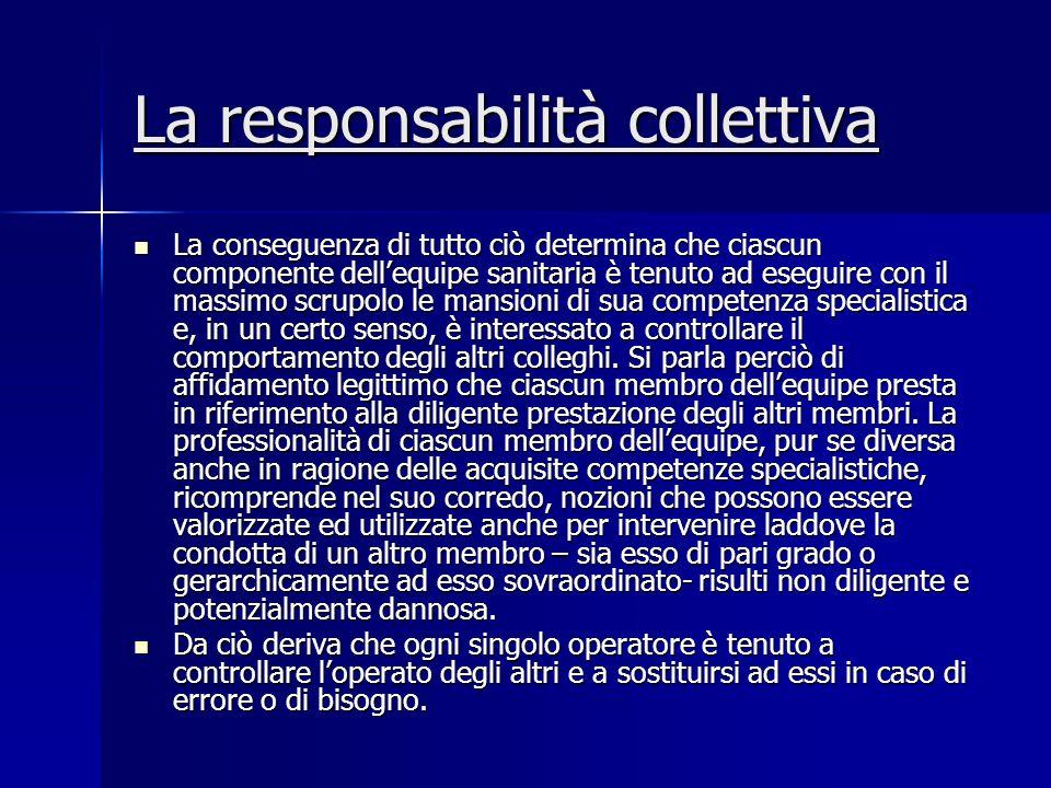 La responsabilità collettiva La conseguenza di tutto ciò determina che ciascun componente dellequipe sanitaria è tenuto ad eseguire con il massimo scr