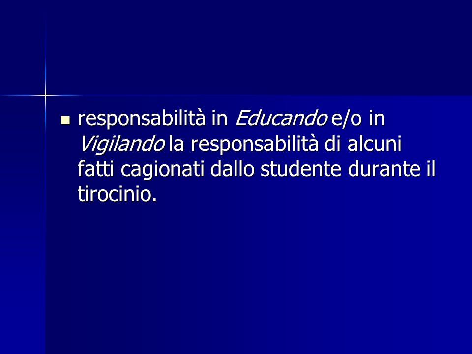 responsabilità in Educando e/o in Vigilando la responsabilità di alcuni fatti cagionati dallo studente durante il tirocinio. responsabilità in Educand