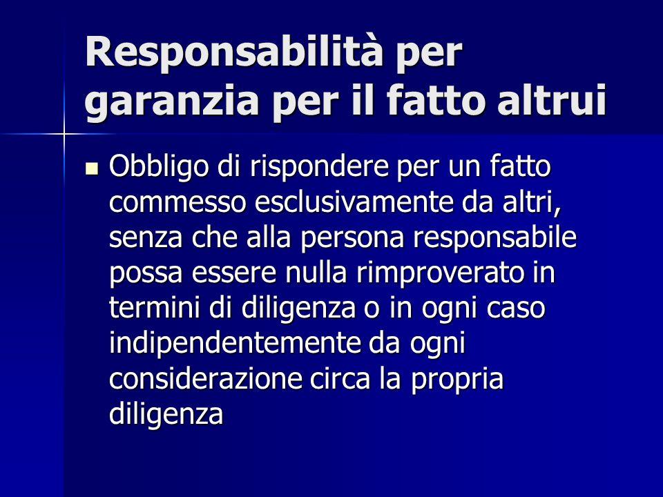 Responsabilità per garanzia per il fatto altrui Obbligo di rispondere per un fatto commesso esclusivamente da altri, senza che alla persona responsabi