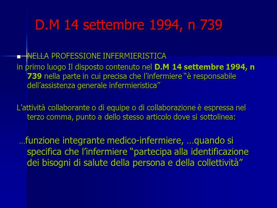 D.M 14 settembre 1994, n 739 NELLA PROFESSIONE INFERMIERISTICA NELLA PROFESSIONE INFERMIERISTICA in primo luogo Il disposto contenuto nel D.M 14 sette