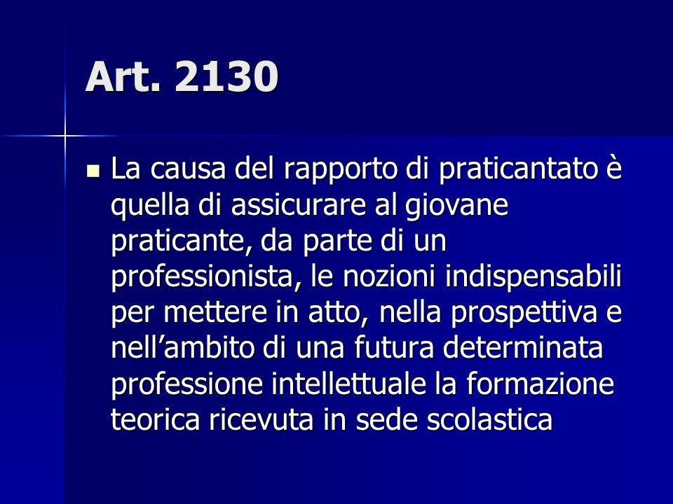 Art. 2130 La causa del rapporto di praticantato è quella di assicurare al giovane praticante, da parte di un professionista, le nozioni indispensabili
