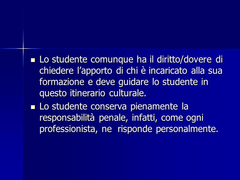 Lo studente comunque ha il diritto/dovere di chiedere lapporto di chi è incaricato alla sua formazione e deve guidare lo studente in questo itinerario