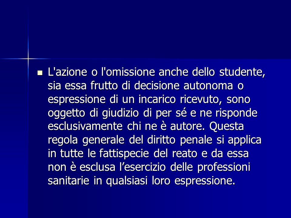 L'azione o l'omissione anche dello studente, sia essa frutto di decisione autonoma o espressione di un incarico ricevuto, sono oggetto di giudizio di