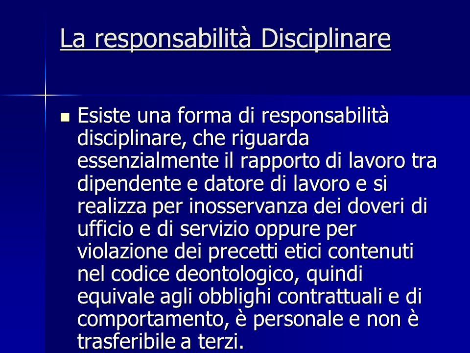 La responsabilità Disciplinare Esiste una forma di responsabilità disciplinare, che riguarda essenzialmente il rapporto di lavoro tra dipendente e dat