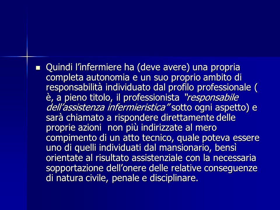 Quindi linfermiere ha (deve avere) una propria completa autonomia e un suo proprio ambito di responsabilità individuato dal profilo professionale ( è,