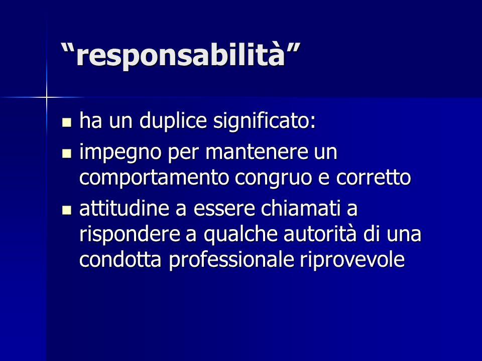 responsabilità ha un duplice significato: ha un duplice significato: impegno per mantenere un comportamento congruo e corretto impegno per mantenere u