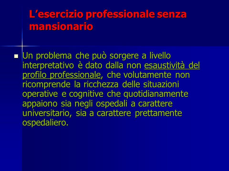 Lesercizio professionale senza mansionario Un problema che può sorgere a livello interpretativo è dato dalla non esaustività del profilo professionale