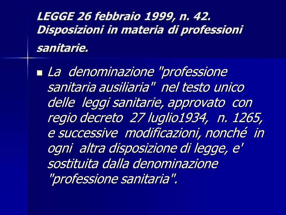 LEGGE 26 febbraio 1999, n. 42. Disposizioni in materia di professioni sanitarie. La denominazione