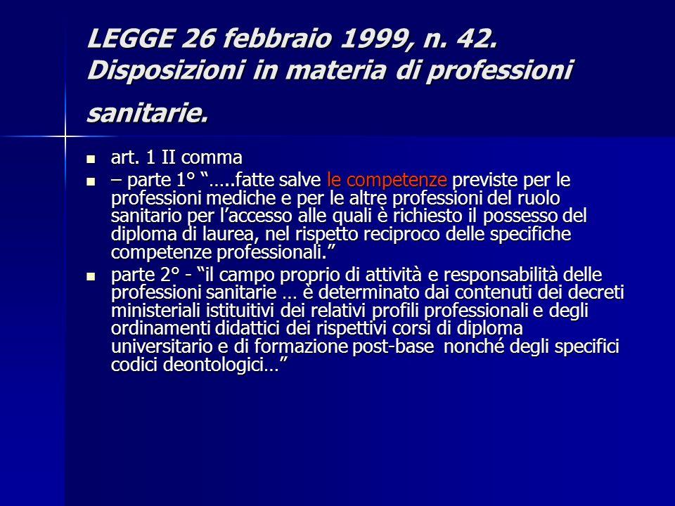 LEGGE 26 febbraio 1999, n. 42. Disposizioni in materia di professioni sanitarie. art. 1 II comma art. 1 II comma – parte 1° …..fatte salve le competen