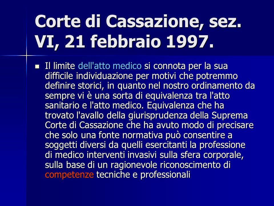 Corte di Cassazione, sez. VI, 21 febbraio 1997. Il limite dell'atto medico si connota per la sua difficile individuazione per motivi che potremmo defi