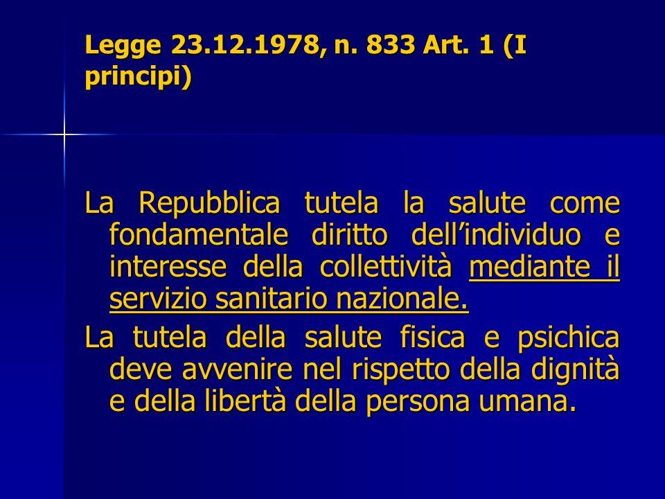 Legge 23.12.1978, n. 833 Art. 1 (I principi) La Repubblica tutela la salute come fondamentale diritto dellindividuo e interesse della collettività med
